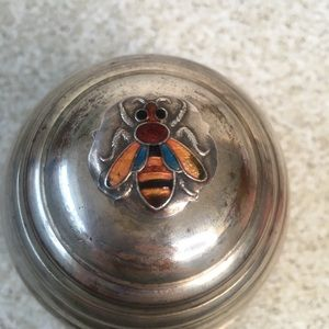 Victorian WA Silver Plate Honey Pot Bumble Bee